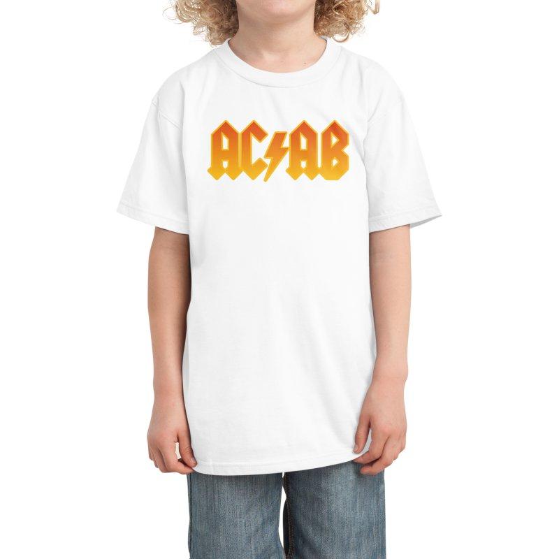 AC/AB - Rock Style ACAB Orange Kids T-Shirt by RadBadgesUK