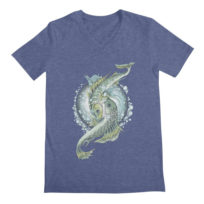 Two Fishes Men's V-Neck by radecupo's Artist Shop