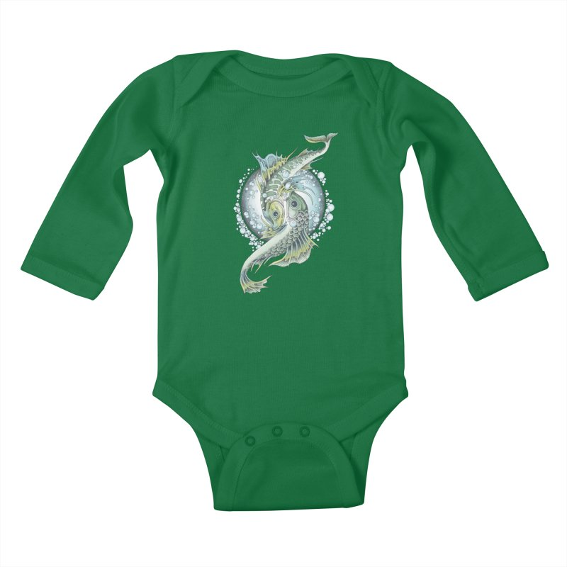 Two Fishes Kids Baby Longsleeve Bodysuit by radecupo's Artist Shop