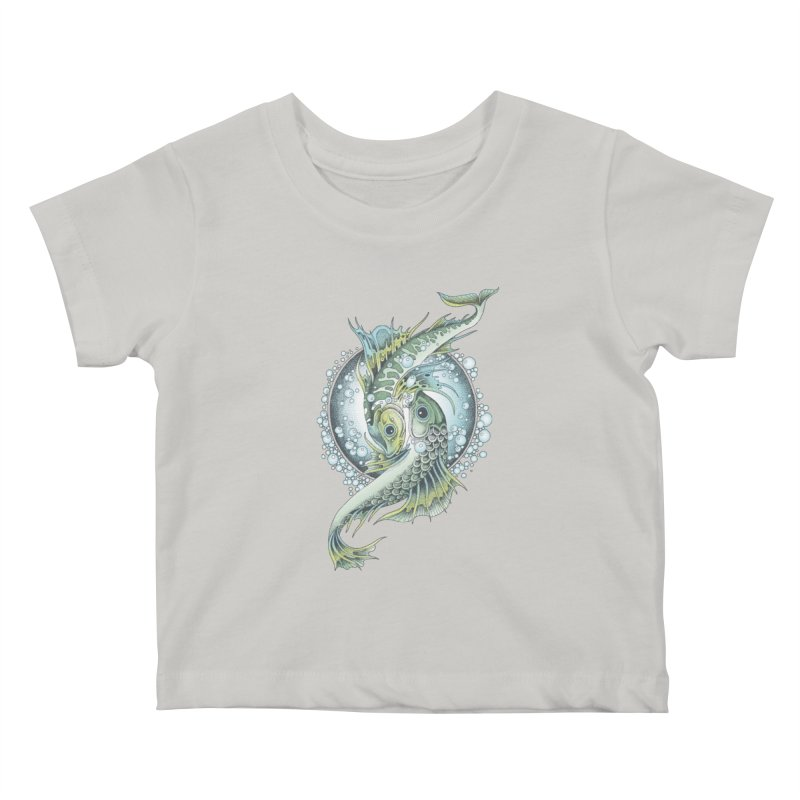 Two Fishes Kids Baby T-Shirt by radecupo's Artist Shop