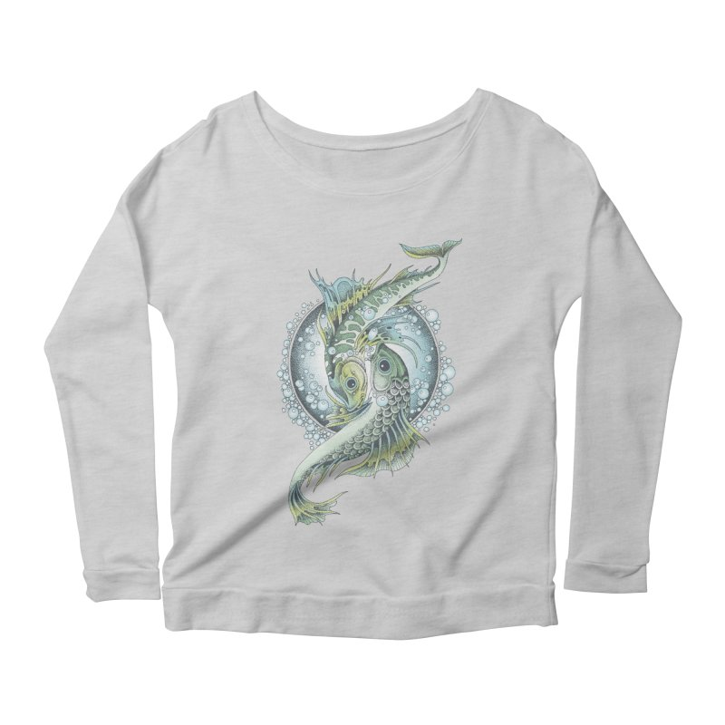 Two Fishes Women's Longsleeve Scoopneck  by radecupo's Artist Shop