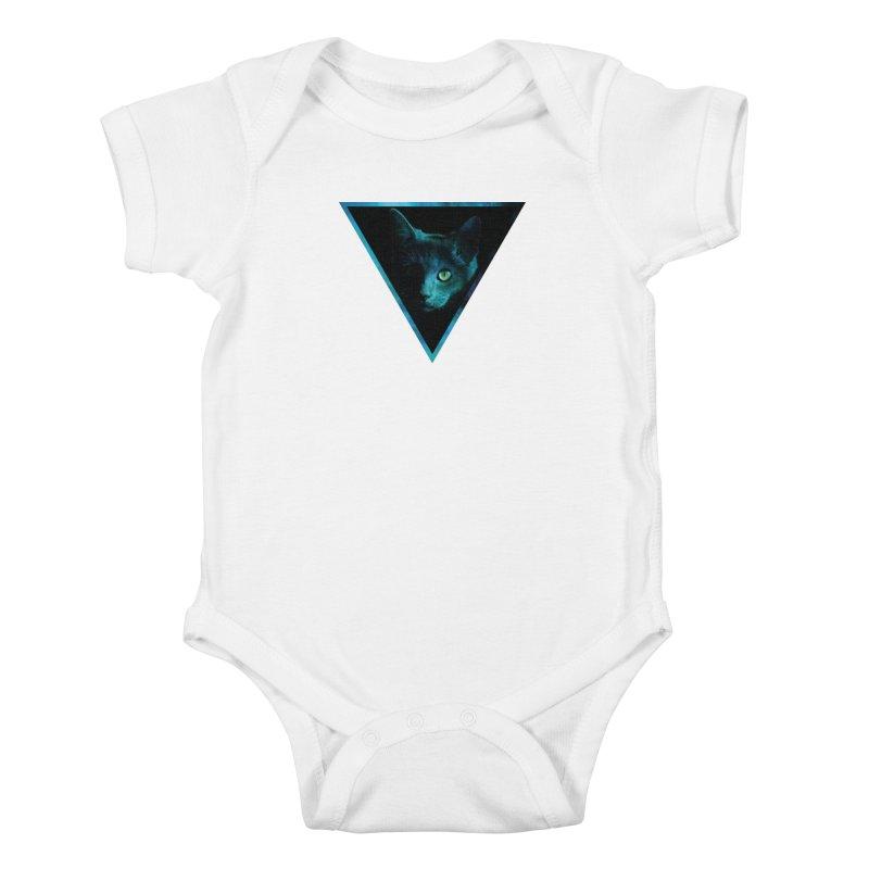 Cosmic Triangle Cat Kids Baby Bodysuit by radesigns's Artist Shop