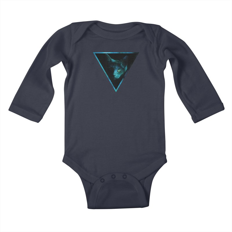 Cosmic Triangle Cat Kids Baby Longsleeve Bodysuit by radesigns's Artist Shop