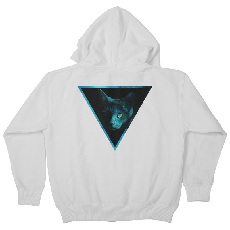 Cosmic Triangle Cat Kids Zip-Up Hoody by radesigns's Artist Shop