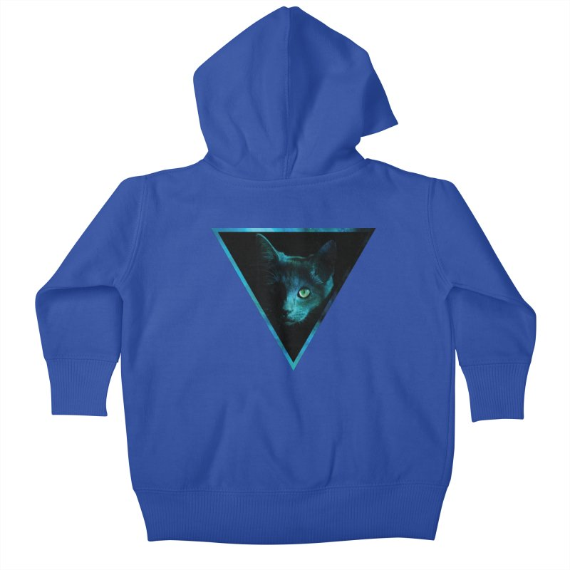 Cosmic Triangle Cat Kids Baby Zip-Up Hoody by radesigns's Artist Shop
