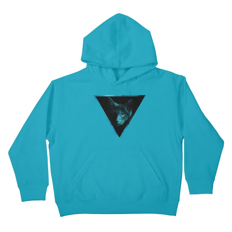 Cosmic Triangle Cat Kids Pullover Hoody by radesigns's Artist Shop