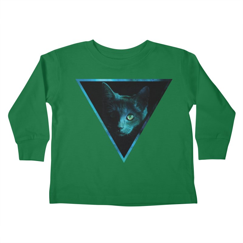 Cosmic Triangle Cat Kids Toddler Longsleeve T-Shirt by radesigns's Artist Shop