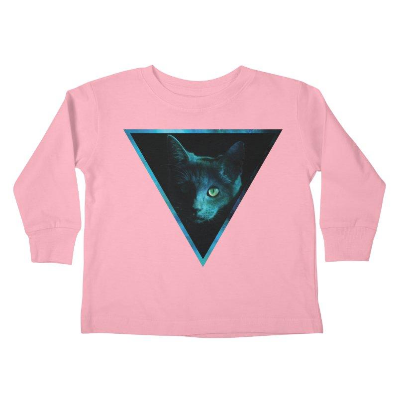 Cosmic Triangle Cat Kids Toddler Longsleeve T-Shirt by radesigns's Artist Shop