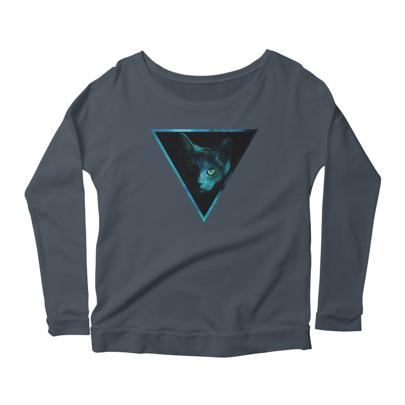 Cosmic Triangle Cat Women's Longsleeve Scoopneck  by radesigns's Artist Shop