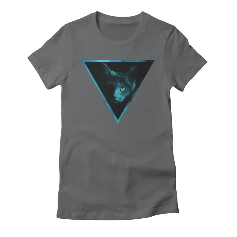 Cosmic Triangle Cat Women's Fitted T-Shirt by radesigns's Artist Shop