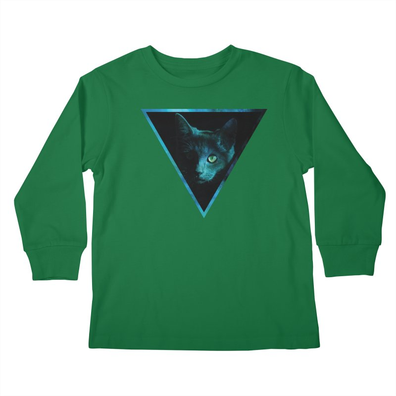 Cosmic Triangle Cat Kids Longsleeve T-Shirt by radesigns's Artist Shop