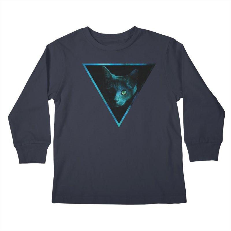 Cosmic Triangle Cat Kids Longsleeve T-Shirt by radesigns's Artist Shop