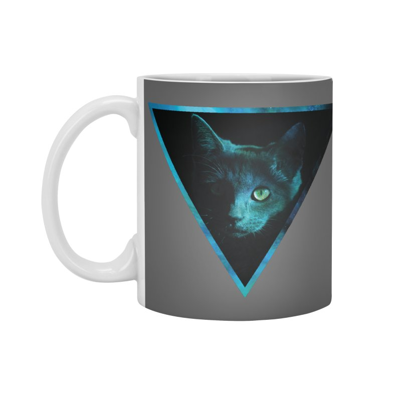 Cosmic Triangle Cat Accessories Mug by radesigns's Artist Shop