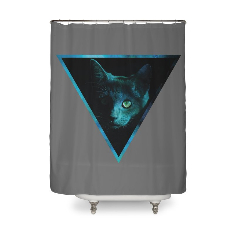 Cosmic Triangle Cat Home Shower Curtain by radesigns's Artist Shop