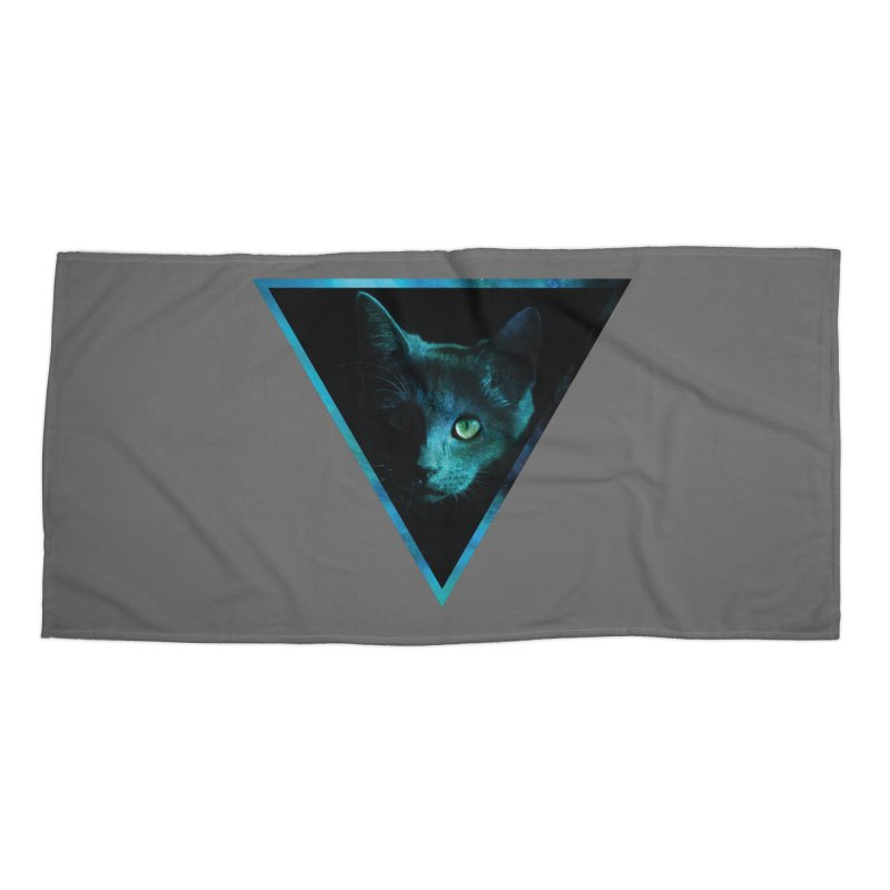 Cosmic Triangle Cat Accessories Beach Towel by radesigns's Artist Shop