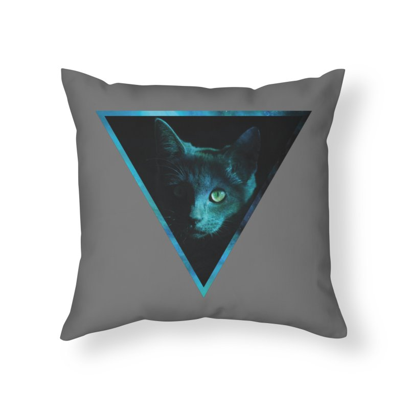 Cosmic Triangle Cat Home Throw Pillow by radesigns's Artist Shop