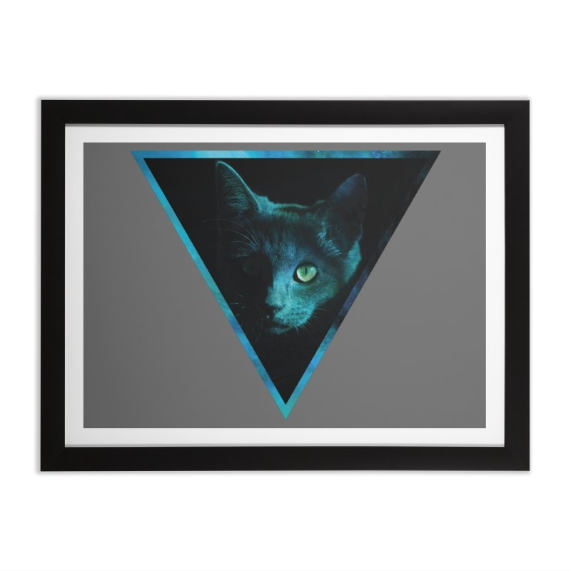 Cosmic Triangle Cat Home Framed Fine Art Print by radesigns's Artist Shop
