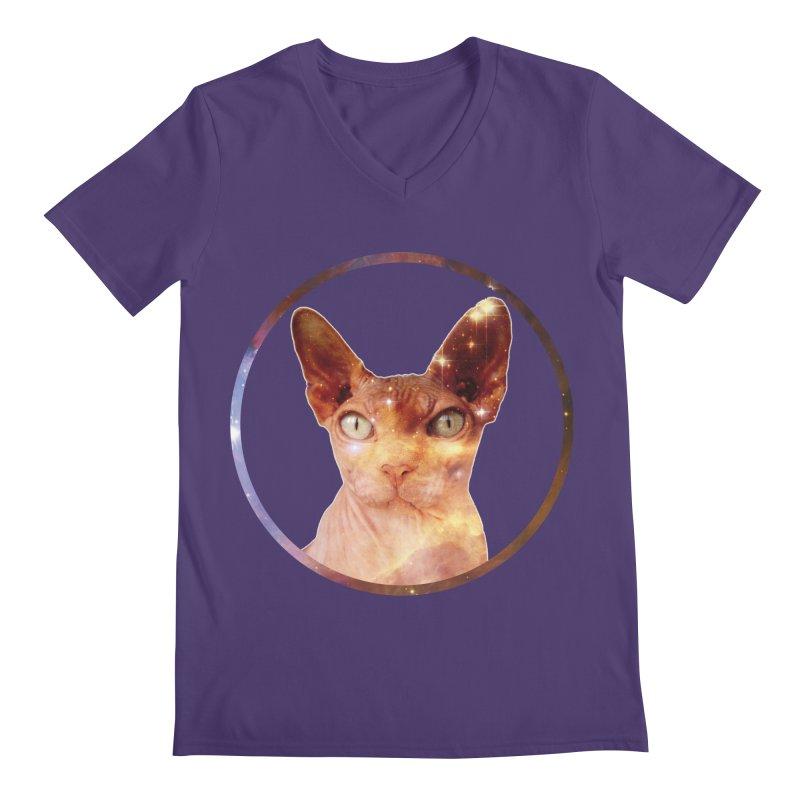 Cosmic Circle Sphynx Cat  Men's V-Neck by radesigns's Artist Shop