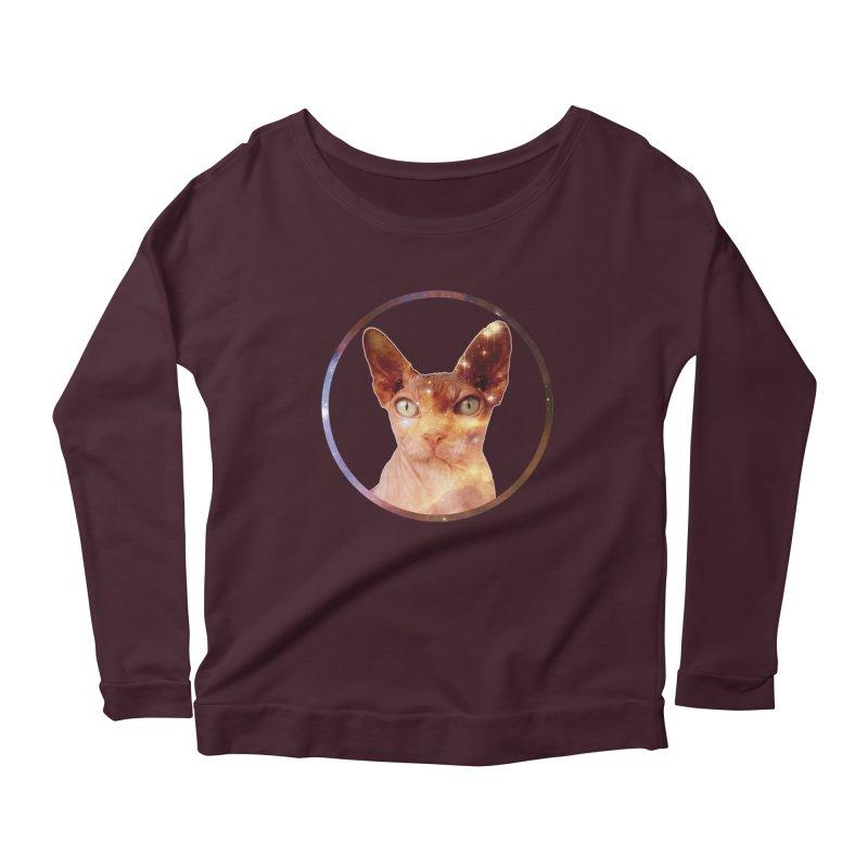 Cosmic Circle Sphynx Cat  Women's Longsleeve Scoopneck  by radesigns's Artist Shop