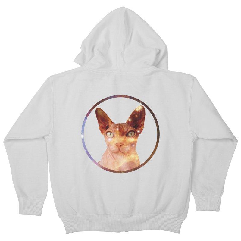 Cosmic Circle Sphynx Cat  Kids Zip-Up Hoody by radesigns's Artist Shop