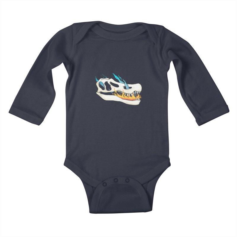 Fire-breathing Baryonyx Kids Baby Longsleeve Bodysuit by Radiochio's Artist Shop