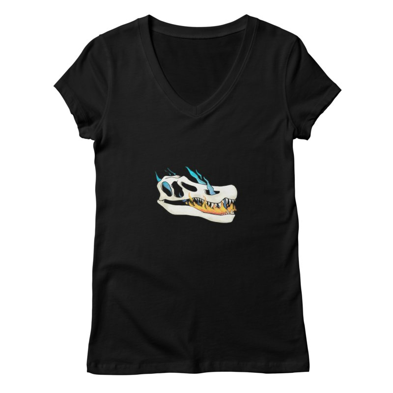 Fire-breathing Baryonyx Women's V-Neck by Radiochio's Artist Shop