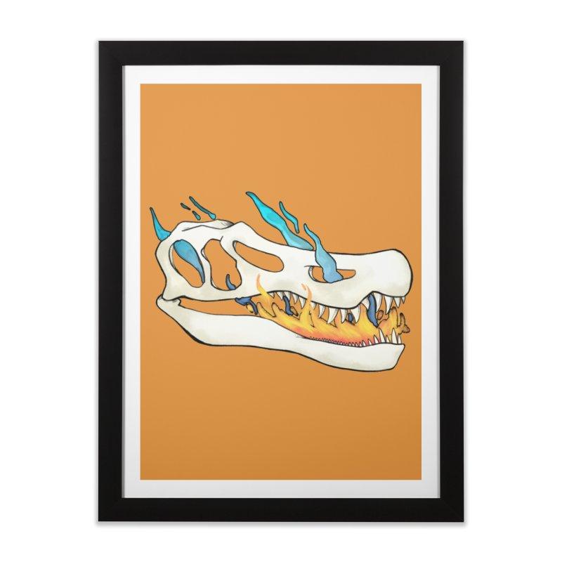 Fire-breathing Baryonyx Home Framed Fine Art Print by Radiochio's Artist Shop