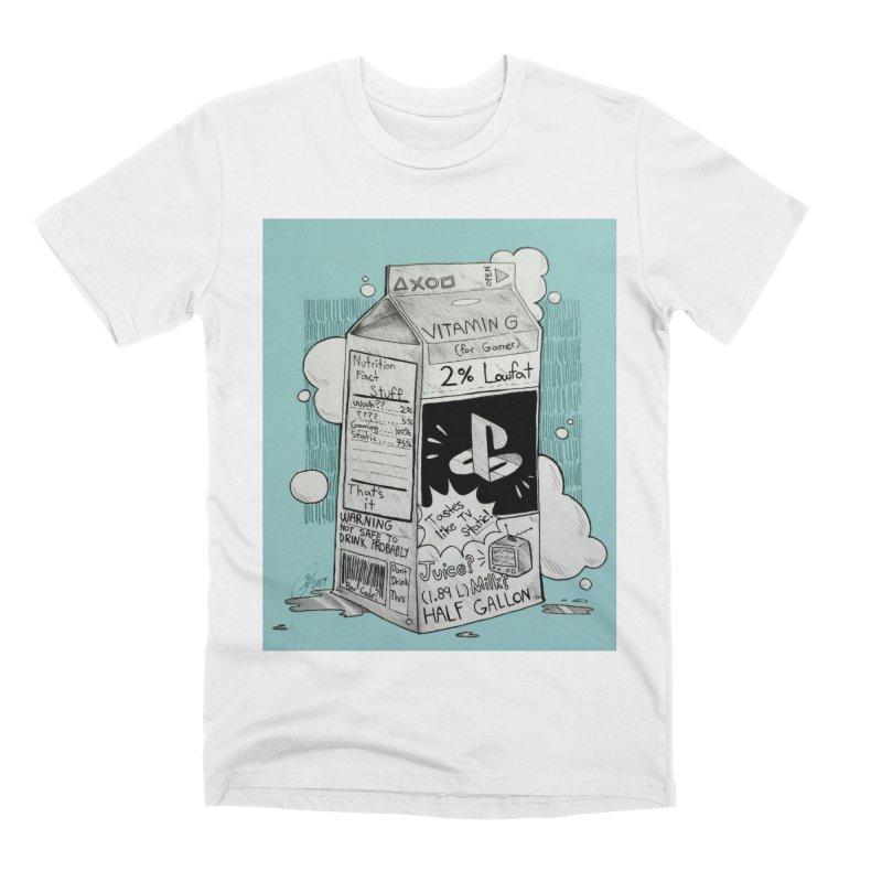 Drink up gamers (blue) Men's T-Shirt by Raining-Static Art