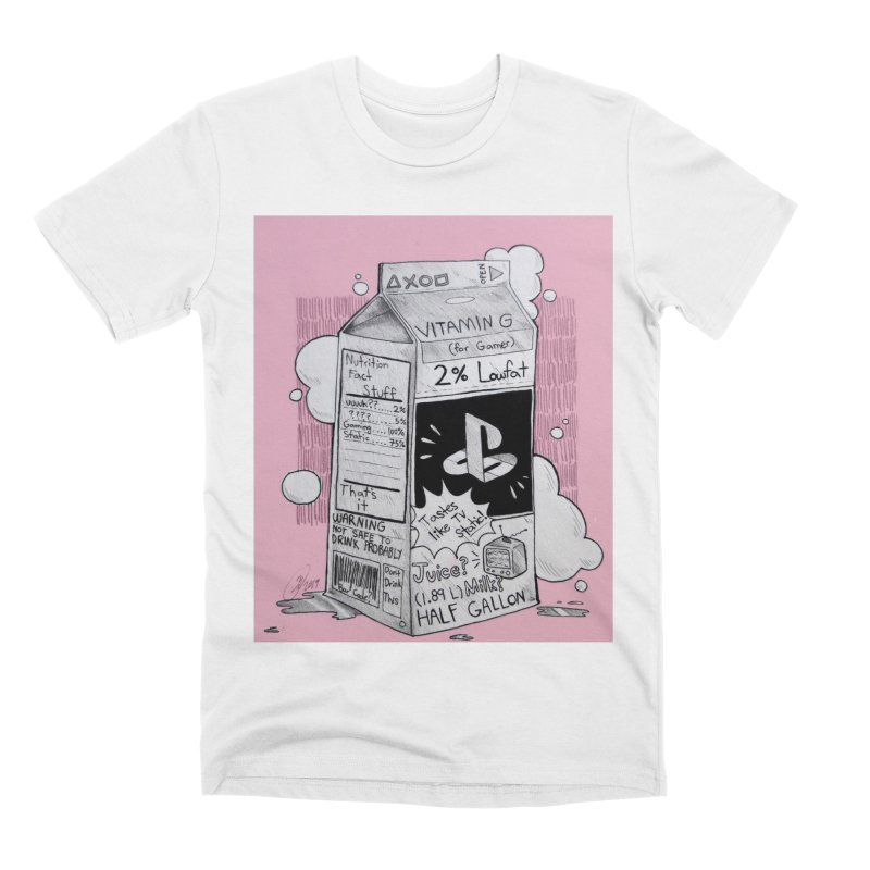 Drink up gamers (pink) Men's T-Shirt by Raining-Static Art