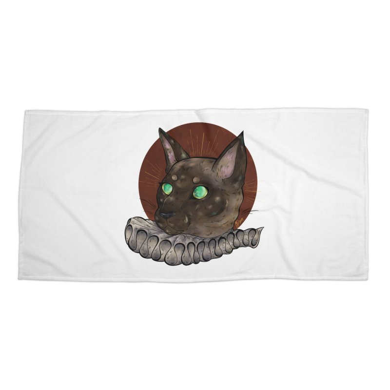 Miss Whiskers Accessories Beach Towel by Raining-Static Art