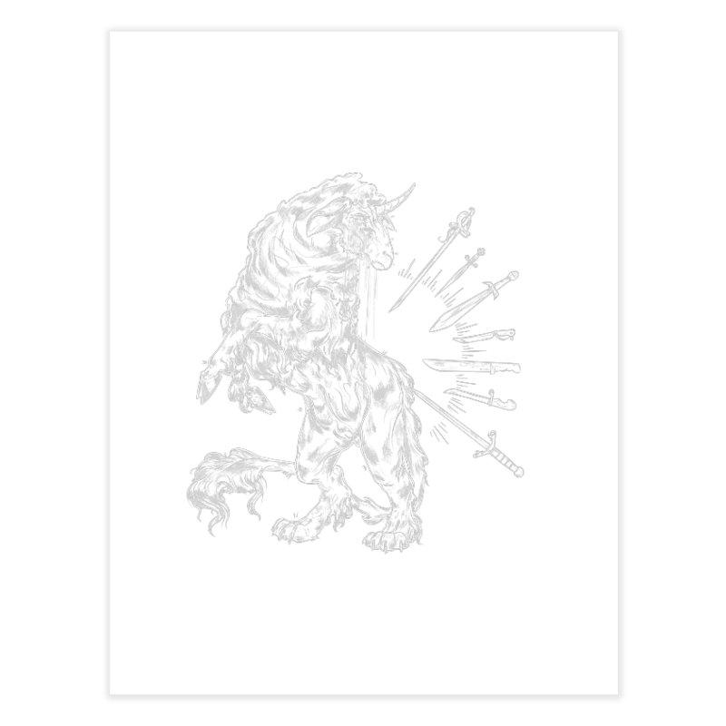 Sword keeper 2 (white) Home Fine Art Print by Raining-Static Art
