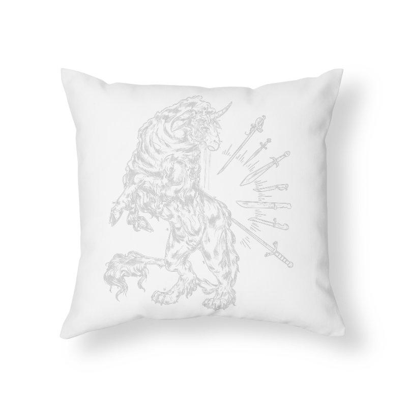 Sword keeper 2 (white) Home Throw Pillow by Raining-Static Art