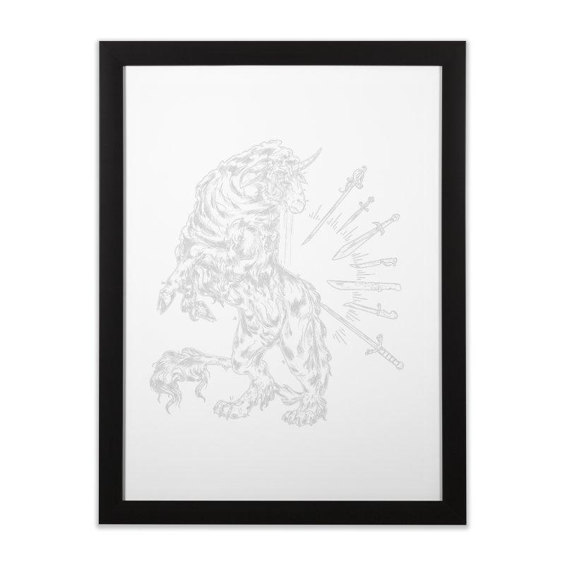 Sword keeper 2 (white) Home Framed Fine Art Print by Raining-Static Art