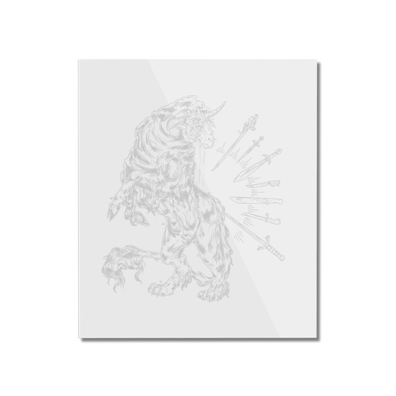 Sword keeper 2 (white) Home Mounted Acrylic Print by Raining-Static Art