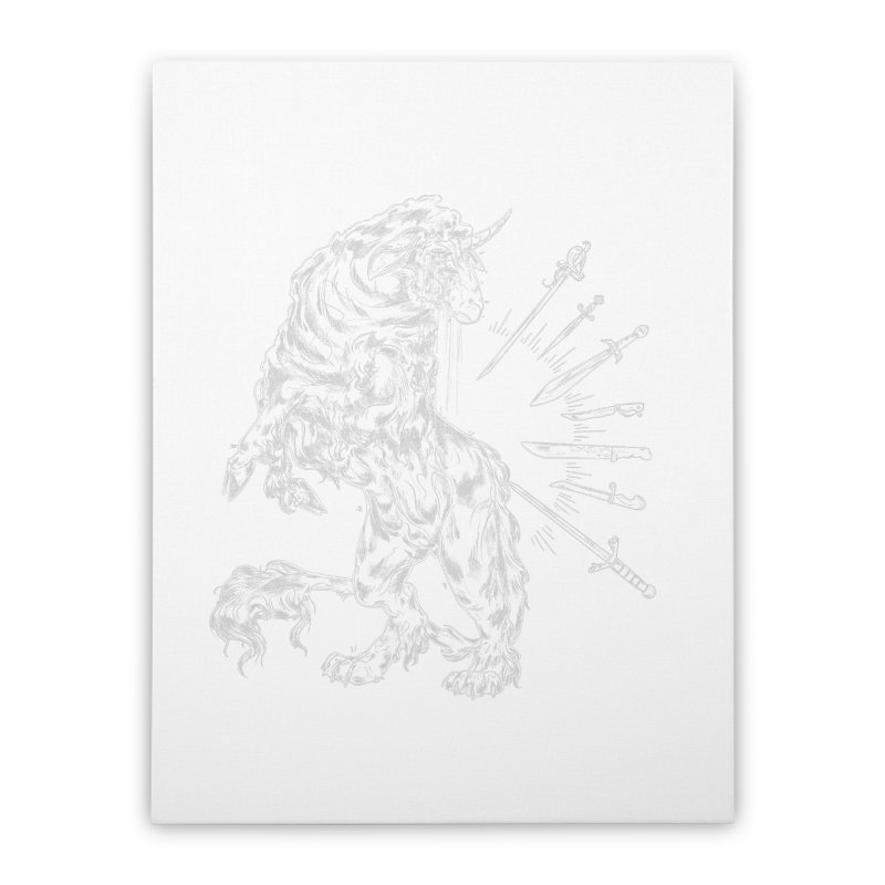 Sword keeper 2 (white) Home Stretched Canvas by Raining-Static Art