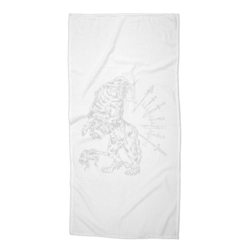Sword keeper 2 (white) Accessories Beach Towel by Raining-Static Art