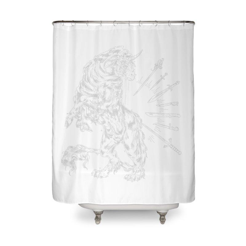 Sword keeper 2 (white) Home Shower Curtain by Raining-Static Art