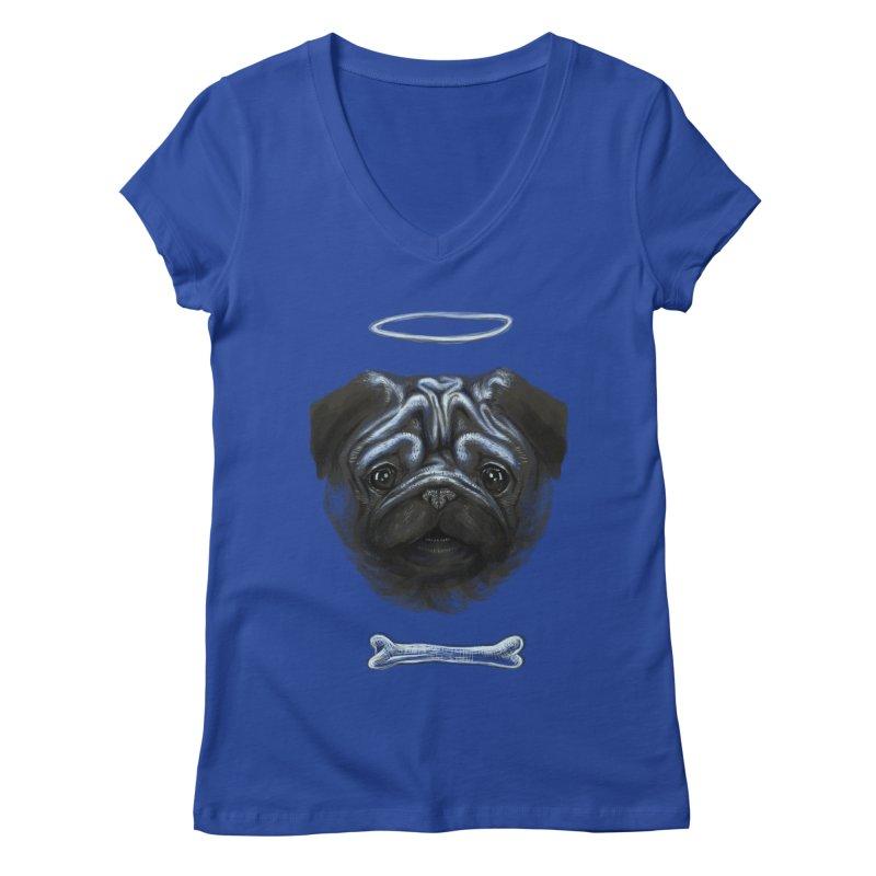 A Pug's Life Women's V-Neck by rainvelle01's Artist Shop