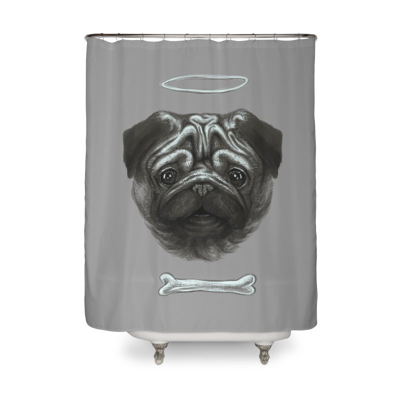 A Pug's Life Home Shower Curtain by rainvelle01's Artist Shop