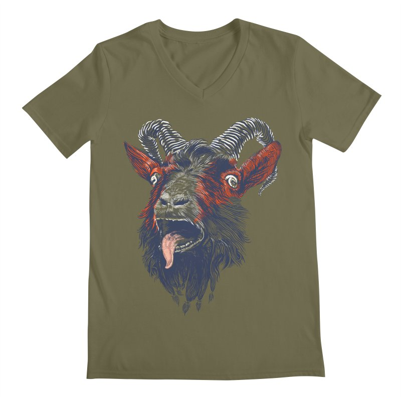 Rock Goat Men's V-Neck by rainvelle01's Artist Shop