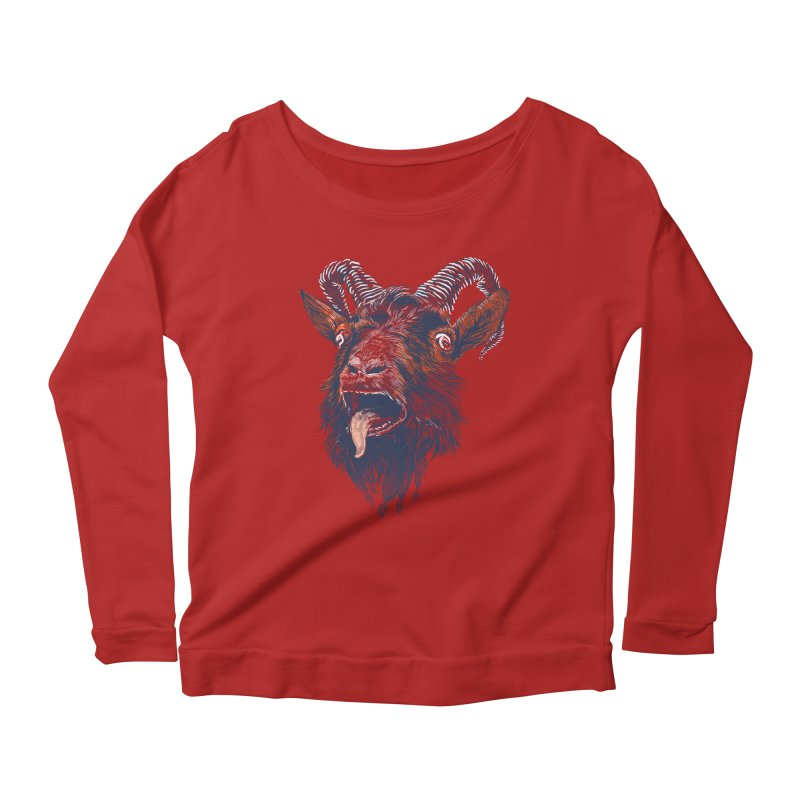 Rock Goat Women's Longsleeve Scoopneck  by rainvelle01's Artist Shop