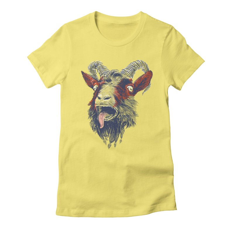 Rock Goat Women's Fitted T-Shirt by rainvelle01's Artist Shop