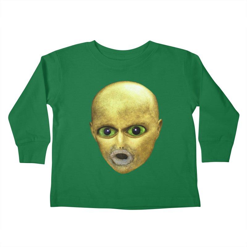 Alien Head Kids Toddler Longsleeve T-Shirt by The Rake & Herald Online Clag Emporium