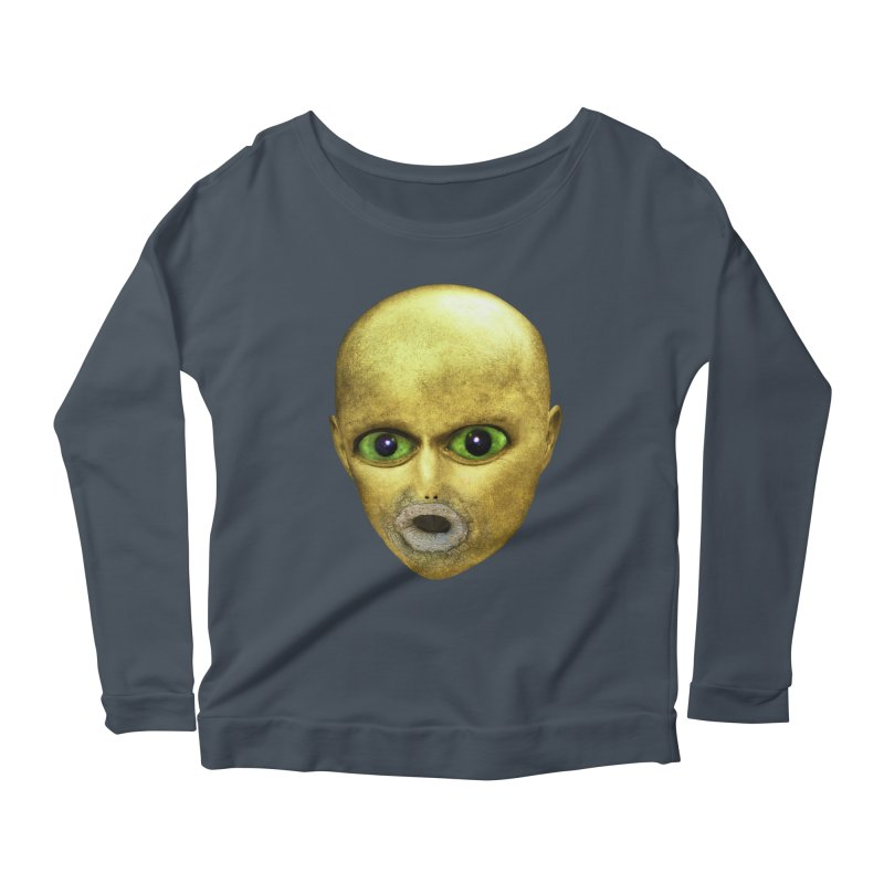 Alien Head Women's Longsleeve Scoopneck  by The Rake & Herald Online Clag Emporium