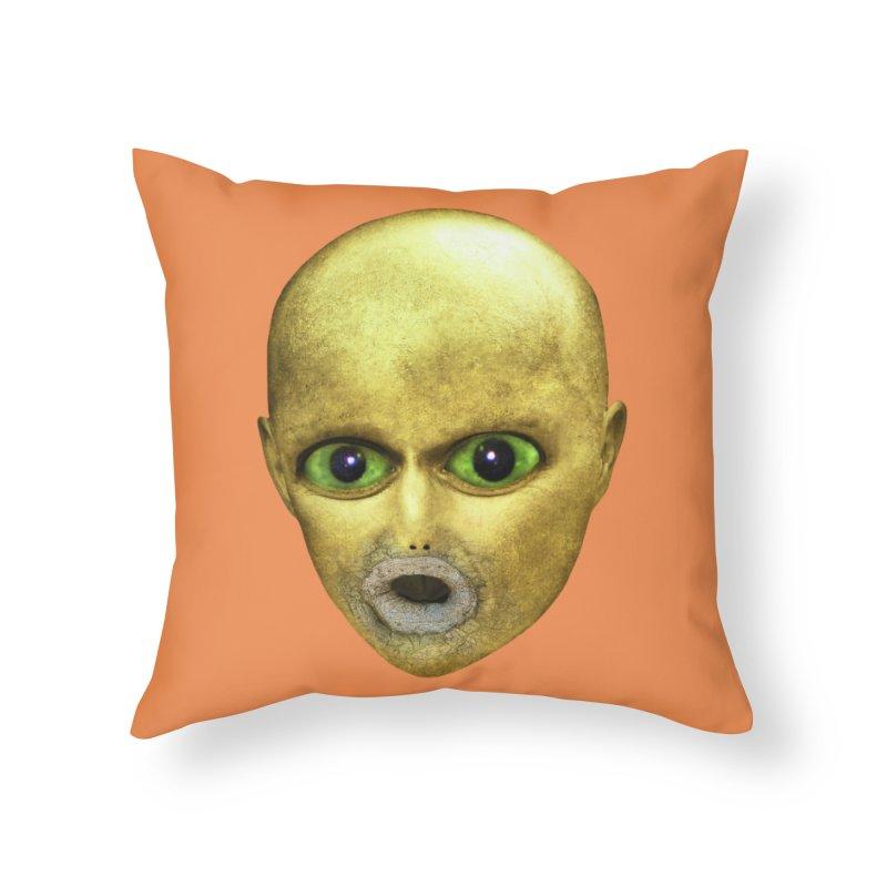 Alien Head Home Throw Pillow by The Rake & Herald Online Clag Emporium
