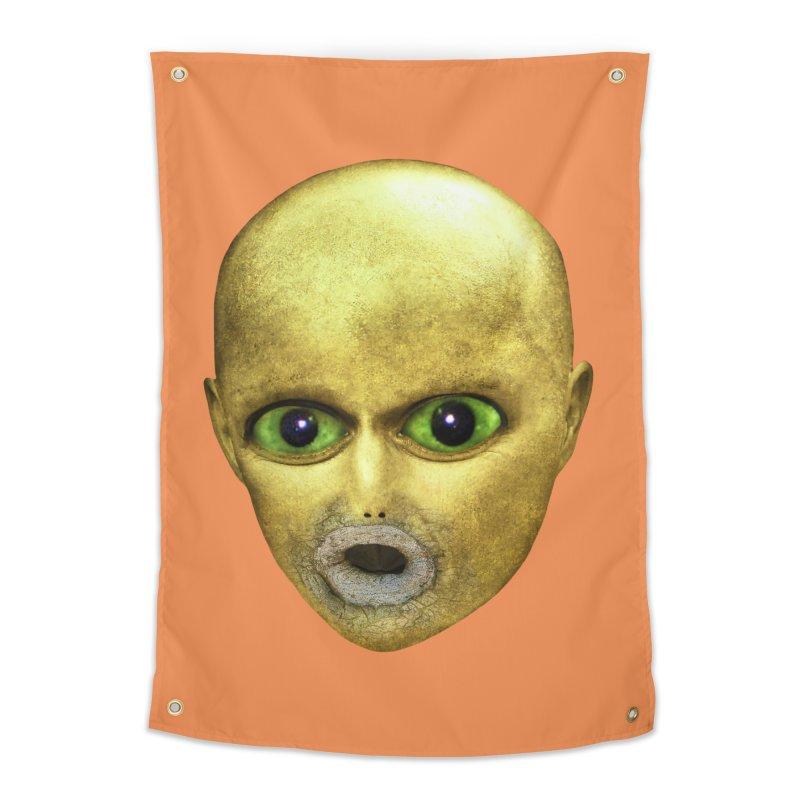 Alien Head Home Tapestry by The Rake & Herald Online Clag Emporium