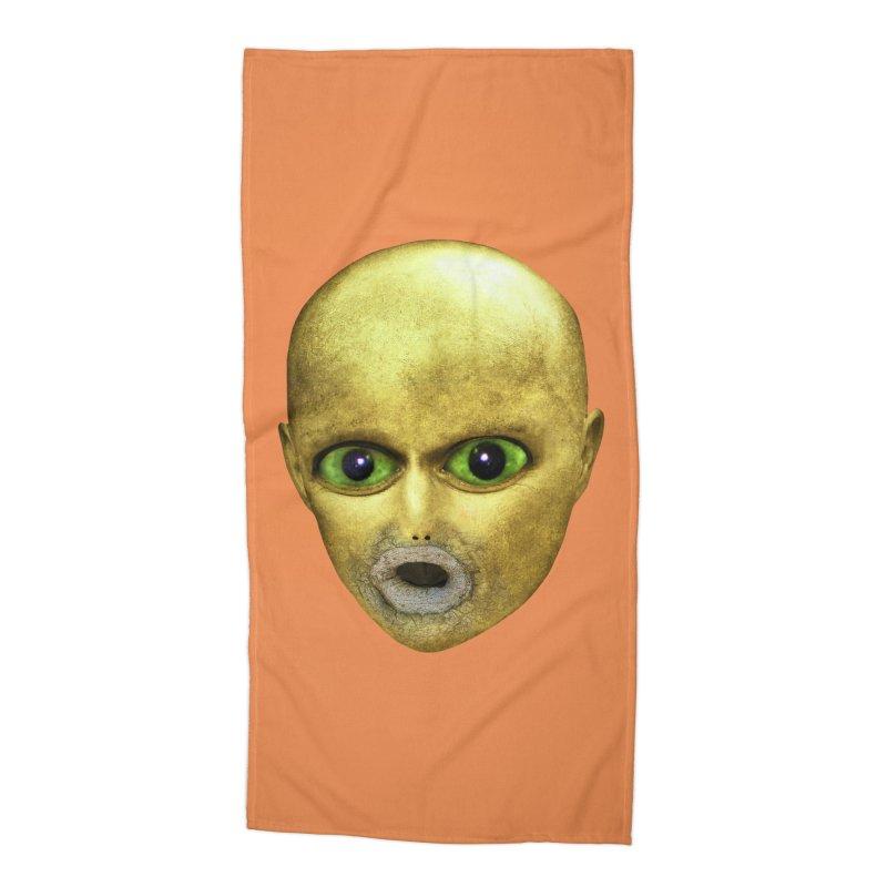 Alien Head Accessories Beach Towel by The Rake & Herald Online Clag Emporium