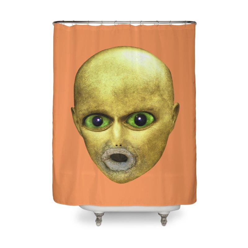 Alien Head Home Shower Curtain by The Rake & Herald Online Clag Emporium