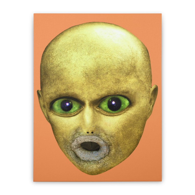 Alien Head Home Stretched Canvas by The Rake & Herald Online Clag Emporium