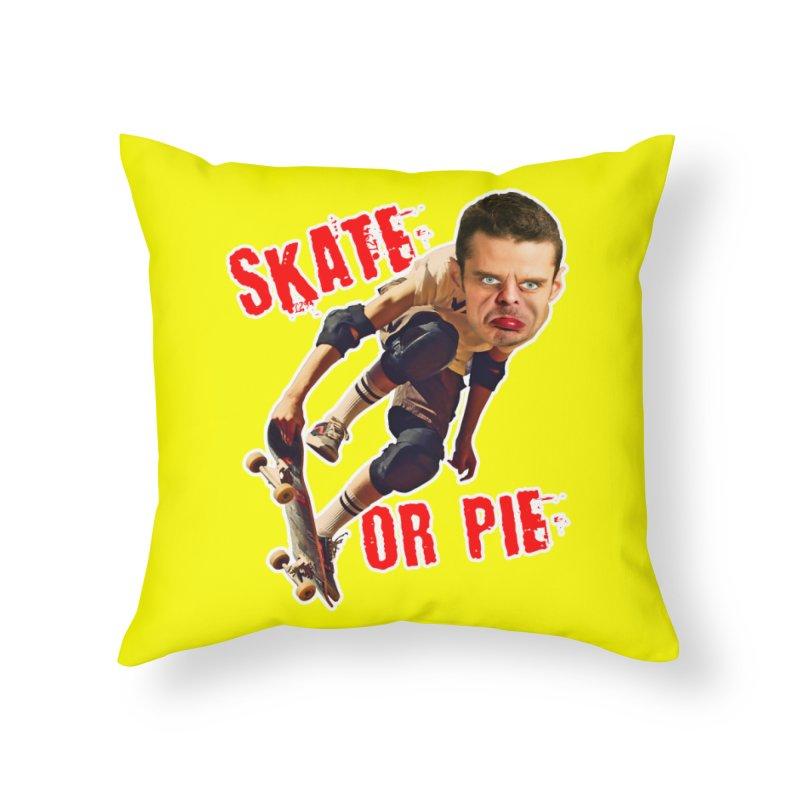 Skate or Pie Home Throw Pillow by The Rake & Herald Online Clag Emporium